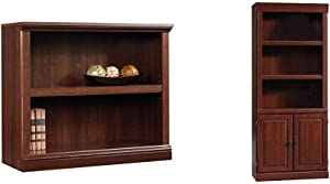 Sauder 2-Shelf Bookcase, Select Cherry Finish & Heritage Hill Library with Doors, Classic Cherry Finish