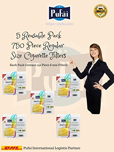 Cigarette filters holder. 750 piece ( 5 reusable pack * 150 filters) disposable regular size [8 mm] cigarette filters holder. New 8 hole strong filtration system by Pufai