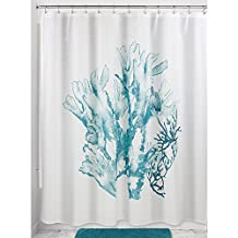 InterDesign Coral Fabric Shower Curtain, 72x72-Inch, Deep Teal