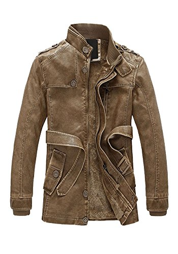 (DOOXIUNDI Men's Sherpa Lined Pu Leather Washed Mid-length Trench Coat (L, Khaki))