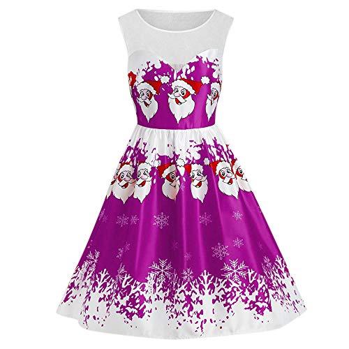 Christmas Dresses, Women Hepburn Santa Printing Vintage Dress 1950s Retro Swing Party Dress Rakkiss (Patons Wool Patterns Free)