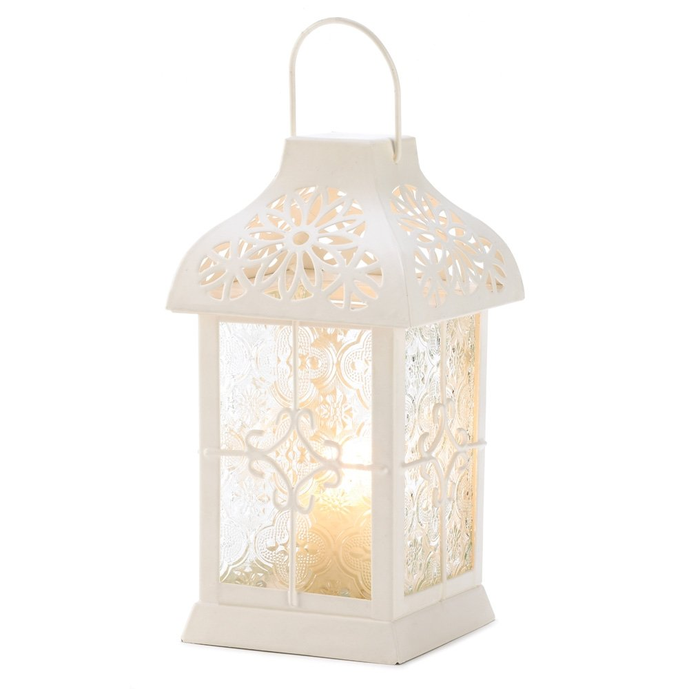 French Country Gazebo White Lantern Candle Holder Medium | ChristmasTablescapeDecor.com