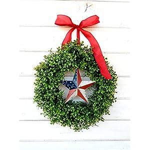 Patriotic Wreath, Summer Wreath, Patriotic Gift, USA Decor, 4th of July Decor, July 4th Wreath, Military Wreath, Military Christmas Gift, Boxwood Wreath, Summer Home Decor 87