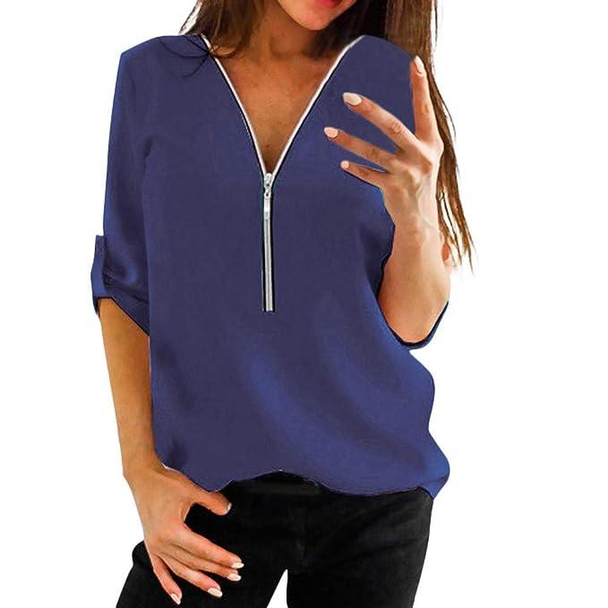 Btruely Herren_camisetas Mujer Atractivas del Color Solido De La Gasa Floja Blusa Manga Larga con Cremallera con Cuello En V: Amazon.es: Ropa y accesorios