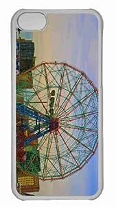 Customized iphone 5C PC Transparent Case - Coney Island Ferris Wheel Personalized Cover