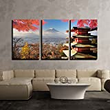 wall26 - 3 Piece Canvas Wall Art - Mt. Fuji with Fall Colors in Japan for Adv or Others Purpose Use - Modern Home Decor Stretched and Framed Ready to Hang - 16''x24''x3 Panels