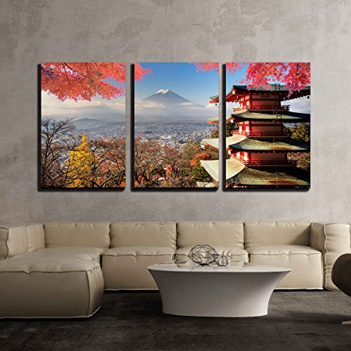 Mt Fuji with Fall Colors in Japan for Adv or Others Purpose Use x3 Panels