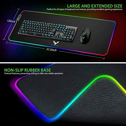 Blade Hawks RGB Gaming Mouse Pad, LED Soft Extra Extended Large Mouse Pad, Anti-Slip Rubber Base, Computer Keyboard Mouse Mat - 31.5 X 12 Inch