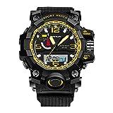 Sports Mens Watch - Outdoor Sports Digital Watch LED Luminous Digital Quatrz Movement Men Watch - Black + Gold