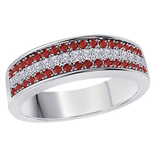Silver Gems Factory 6MM 14K White Gold Plated 1/2 Ct Red Garnet & White Cz Diamond Ring Three Row Pave Half Eternity Mens Wedding Band Diamond Three Row Ring