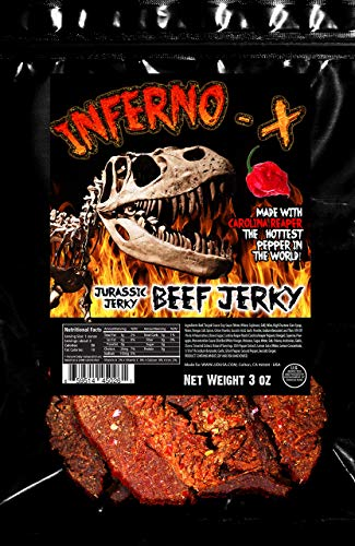 INFERNO -X Carolina Reaper Beef Jerky 3 oz Made with the the HOTTEST PEPPER in the WORLD!! Seasoned with a special blend of Real Carolina Reaper Peppers and tasty spices. Sweet with Heat!