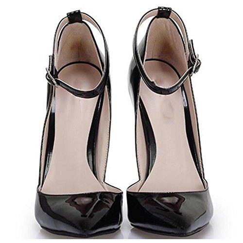 Les Hauts A pour Chaussures Talons Pointue Hauts pour 14cm Hall Chaussures Simples de Banquet Sandales Ceinture Talons Escarpins Pieds Bouche Boucle Vide Workplace Latéraux Femmes Bw1XqxnSY