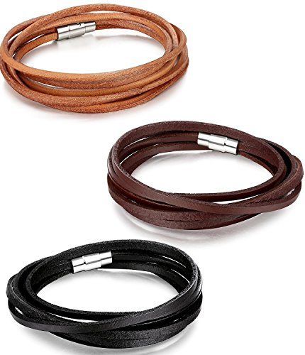 Areke Mens Leather Bracelets Wristband - Long Magnetic Clasp Wrist Cuffs Bracelet Set Photo #2