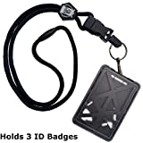 Specialist ID Vertical Top Load Three Card Badge Holder - Hard Plastic with Heavy Duty Breakaway Lanyard w Quick Release Metal Clip & Key Ring (One Holder / 3 Cards Inside) (Black)