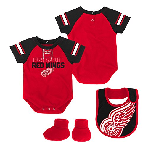 Hockey Art Detroit Red Wings - Outerstuff NHL Detroit Red Wings Newborn & Infant Little D-Man Onesie, Bib & Bootie Set, 18 Months, Red