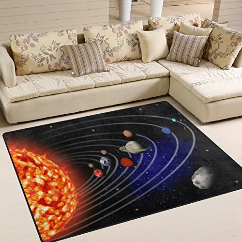 Naanle Outer Space Area Rug 5'x7', Solar System Polyester Area Rug Mat for Living Dining Dorm Room Bedroom Home Decorative by Naanle