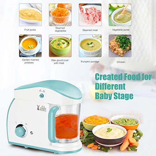 51b3LTzDsuL rabbit baba Baby Food Maker, Fashion Look Baby Food Processor with Touch Screen Control, Quick Clean Multifunctional Baby Food Blender, Steamer, Cooker    ��SUPER SIMPLE TO USE】: By just ONE HAND to choose any mode easily by one step to create FRESH, HEALTHY, HOMEMADE baby food… Forget juggling multiple pots and pans which make you don't have to put your baby down , no matter you want to steam or chop food, just rotate the rotary switch, it done soon.��SAFETY & HEALTHY Baby Food Processor】: We focus on children's products for 20 YEARS and never compromise on safety issues�Besides this, the food processor has OVERHEATING PROTECTION and ANTI-DRY FUNCTION, keep your babies and family safe!��QUICK CLEANUP】: The steam tank of Rabbit baba baby food maker can be opened completely for easy cleaning. For any stubborn stains, the stirring cup is DISHWASHER SAFE. baby food processor chopper/grinder/mills/blender save you more time to spend them with your family.��STYLISH & MODERN DESIGN】: The compact and cute baby food maker chopper Grinder it stored easily and fit all decoration style kitchen.It is the best baby gift�