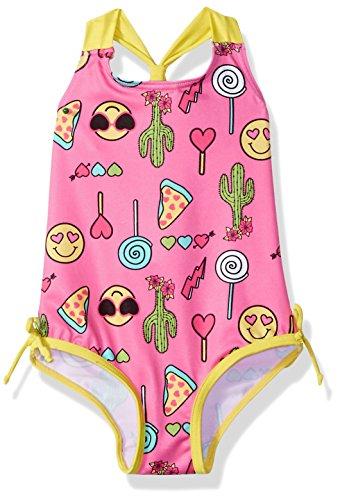 Pink Platinum Girls Happy Emoji 1-Piece Swimsuit