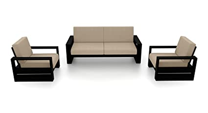 Urban Ladder Parsons Five Seater Sofa Set 3-1-1 (Matte Finish, Macadamia Brown)