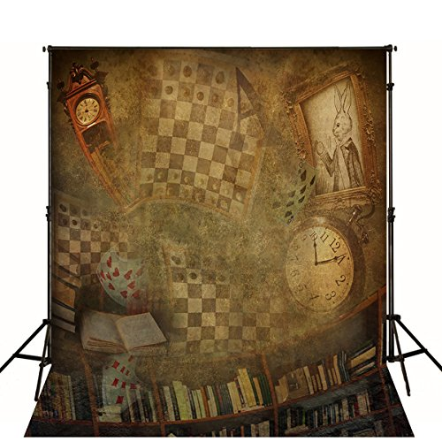 Vintage Halloween Backdrop Clock Rabbit Playing Cards Bookcase Background for Photo Studio Brown Retro Wallpaper Booth Shoot Props]()