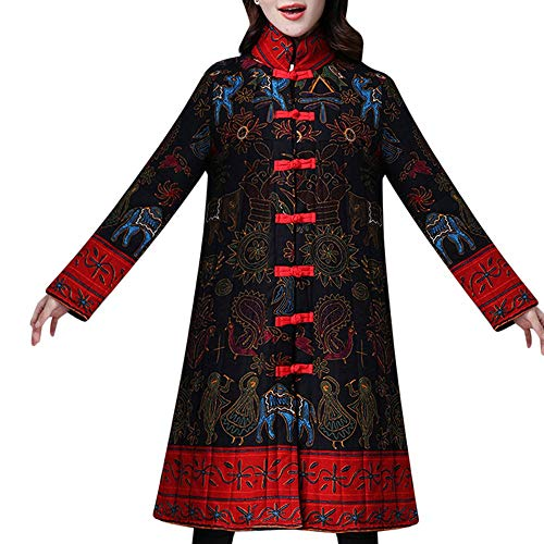 Toimoth Women Stand Collar Chinese Style Costume Plus Size Winter Button Coat Folk-Custom Cotton-Padded Jacket(BlackA,XL)