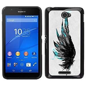 Teal Negro Gris Cuervo Pájaro Profundo Arte- Metal de aluminio y de plástico duro Caja del teléfono - Negro - Sony Xperia E4