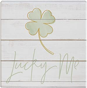 Simply Said, INC Small Talk Squares, Lucky Me Four Leaf Clover- Rustic Wooden Sign 5.25 x 5.25 in STS1590