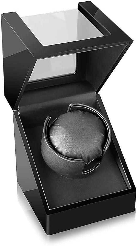 Caja giratoria para Relojes Enrollador de Reloj Individual automático Caja de Reloj Winding Madera Grano café Franela/Caja de exhibición de Cuero Negro Caja Elegante Hermosa [100% Hecho a Mano]: Amazon.es: Relojes