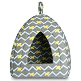 Hollypet 12 ×12 × 17 inches Self-warming Comfortable Triangle Cat Bed Tent House, Gray Moire