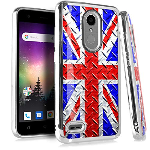 (Compatible LG Aristo 2 X210 | Tribute Dynasty | K8 (2018) | Fortune 2 | Zone 4 | Risio 3 Case Electroplated Chrome TPU Brushed Textured Hybrid Phone Cover (UK Flag Crosshatch))