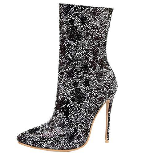443459523cfd Bottes Zip Bout Courtes Talons Sexy Bottines Winter Hiver Ankle Boots Hauts  Aiguilles Stiletto Shoes à Woman Femme Paillettes YE ...