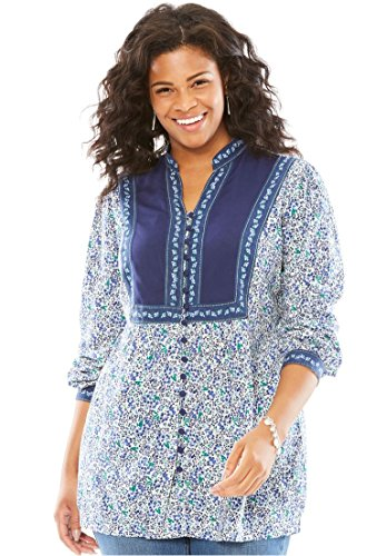 Woman Within Women's Plus Size Mixed Print Blouse Blue Ditsy Floral,M - Floral Shirred Tunic Top