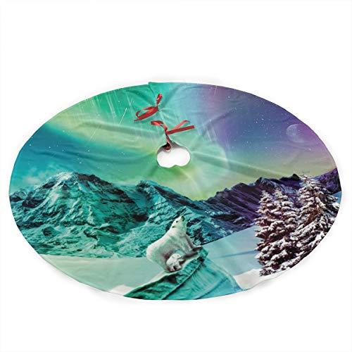 "ADELBERT HENDEICKSO Polar Bear in The Aurora Borealis Novelty Christmas Tree Skirt 35.5"" Xmas Year Plush Tree Skirt Christmas Decoration Tree Stand Mat Cover for Holiday Party Decor"