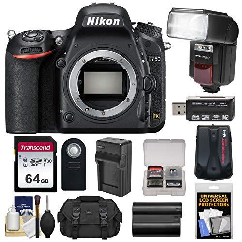 Nikon Gp1 Gps Adapter - Nikon D750 Digital SLR Camera Body with 64GB Card + Battery & Charger + Case + GPS Adapter + Flash + Kit