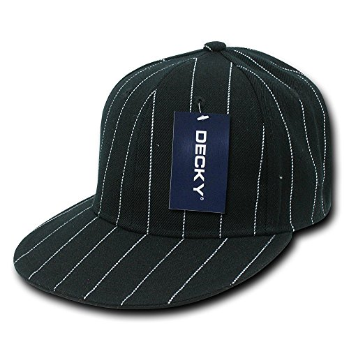 DECKY Pin Striped Fitted Cap, Black, 6 ()