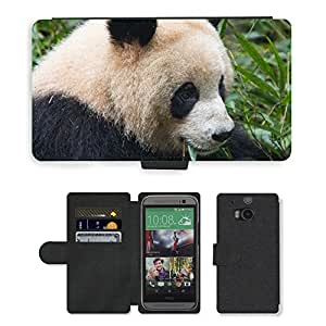 GoGoMobile Flip PU Leather Wallet Case with Credit Card Slots // M00119163 Bear Panda Black And White Animals // HTC One M8