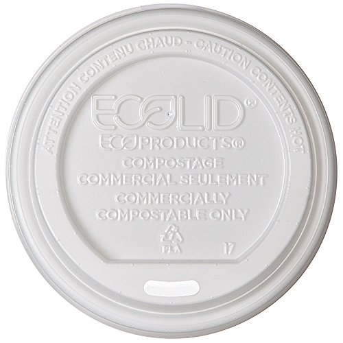 Eco-Products Renewable & Compostable Hot Cup Lids, Fits 10 to 20 oz Hot Cups, Case of 800 (EP-ECOLID-W)