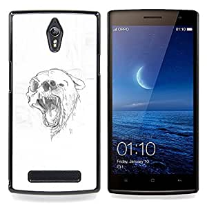 - Grizzly Black Brown Bear Skull Drawing - - Cubierta del caso de impacto con el patr??n Art Designs FOR Oppo Find 7 X9007 Queen Pattern