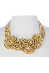 Kenneth Jay Lane Gold Chain Knotted Bib Necklace