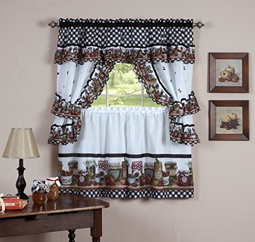 """Mason Jar Kitchen Curtain 36"""" Tier Pair Valence Swag & Tieba"""