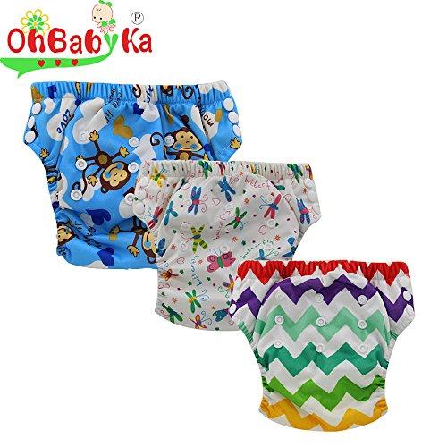 Ohbabyka Baby Training Pants,Baby Nappy Diapers Waterproof, 3PCS Pack