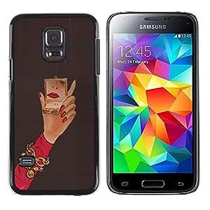 TopCaseStore / la caja del caucho duro de la cubierta de protección de la piel - Michael Mirror Woman Red Nails Hand - Samsung Galaxy S5 Mini, SM-G800, NOT S5 REGULAR!