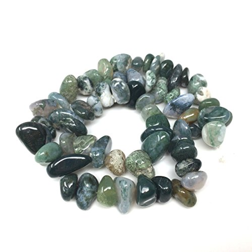 Top Quality Natural Moss Agate Gemstone Free Form Center Drilled Loose Stone Beads ~8-10mm beads (~16