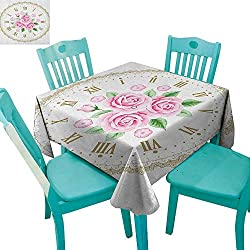 longbuyer Shabby Chic,Customized Tablecloth,Vintage Clock Face Roses Roman Numbers Antique Vintage Style,70x70,Suitable for Kitchen, dustproof Desktop Decoration