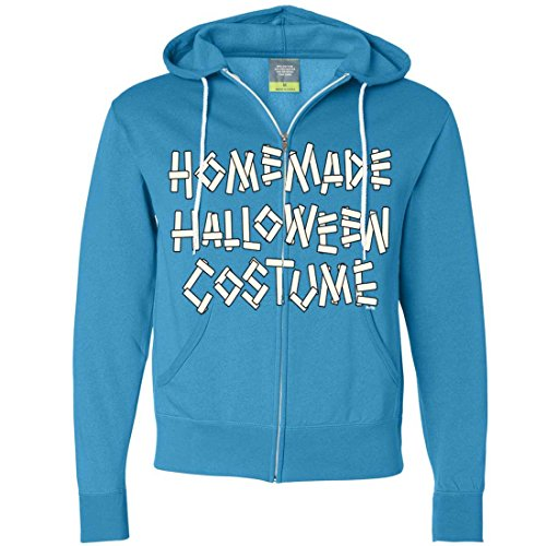 Homemade Halloween Costume Zip-Up Hoodie - Turquoise Small (Homemade Halloween Costumes For Men)