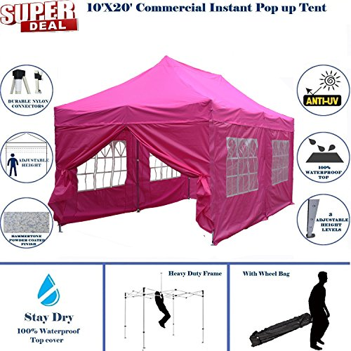 10'x20' Pop up Canopy Wedding Party Tent Instant EZ Canopy Pink - F Model Commercial Grade Frame By DELTA