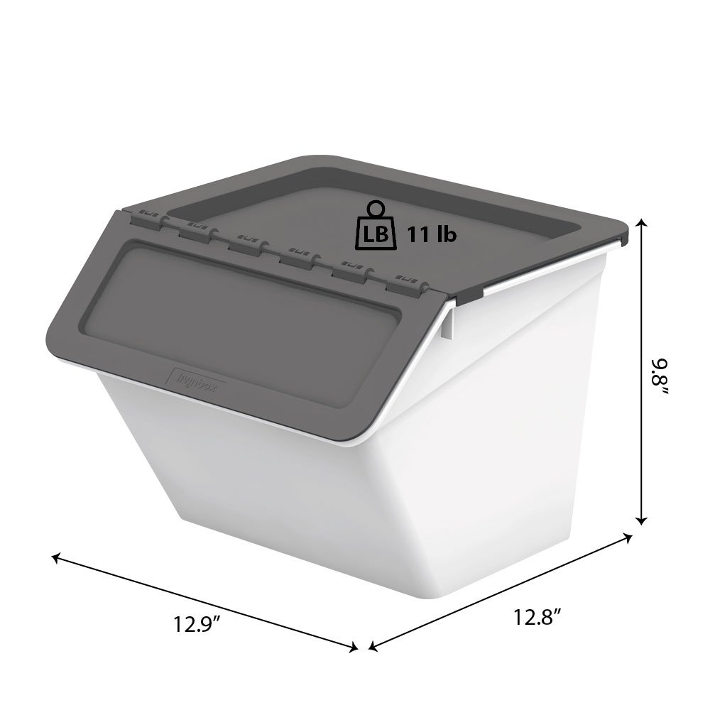 livinbox PP Plastic Pelican Stackable Storage Bins Cubes Containers Box  with Hinged Lids, 15L,MHB-3332 - Blue