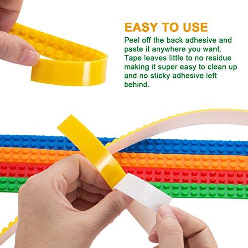 Block cinta, filisox 5rollos (0,9m/rollo) Multicolor Silicona no tóxico cintas con placas reutilizable–Tiras...