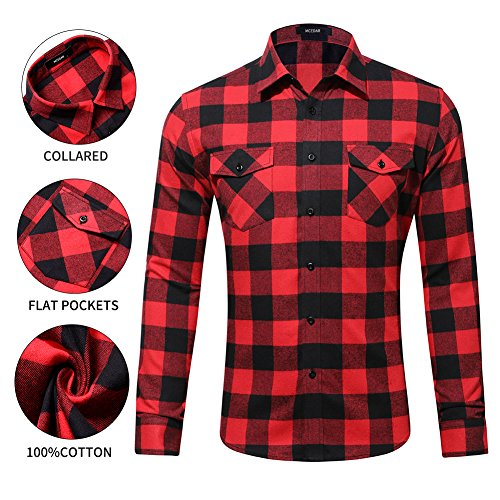 MCEDAR Men's Plaid Flannel Shirts-Long Sleeve Casual Button Down Slim Fit Outfit for Camp Hanging Out or Work (M, ()