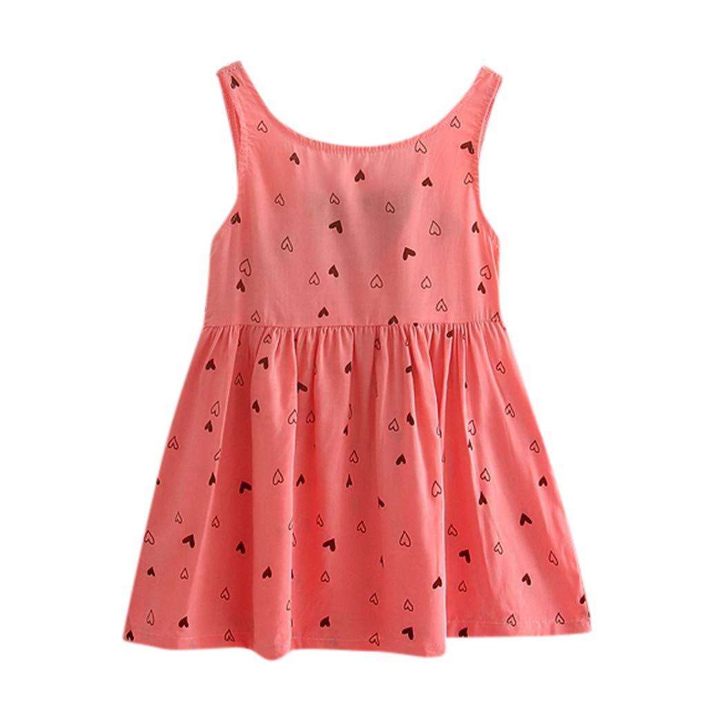 Xturfuo Baby Girls Summer Dress Lovely Summer Baby Girls Printed Princess Gallus Dresses